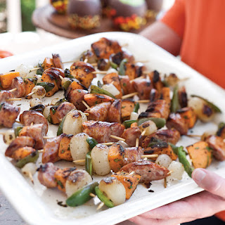 Grilled Spicy Sweet Potato and Sausage Skewers