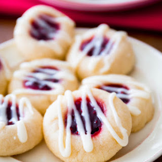 Raspberry Almond Thumbprint Cookies.