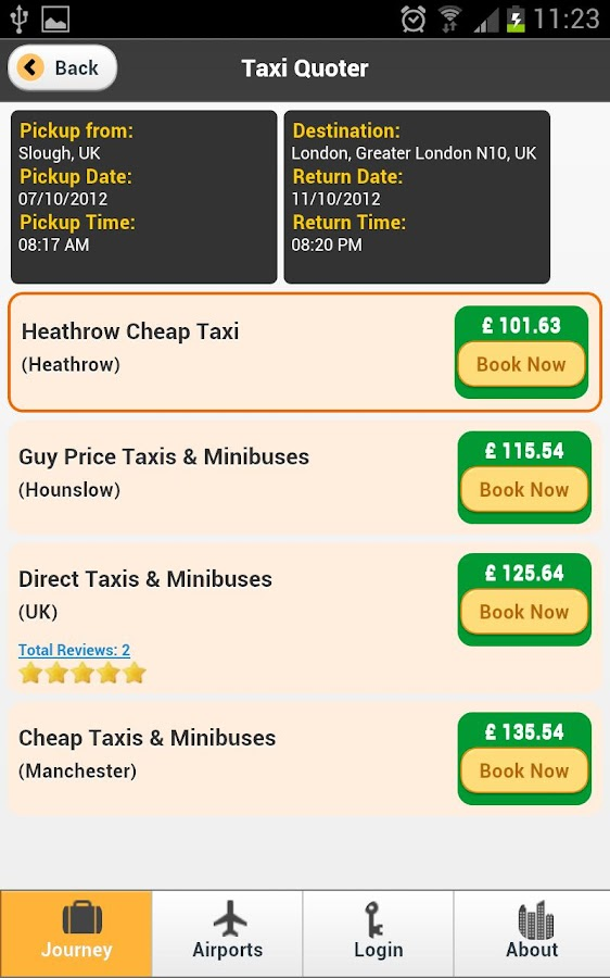 Taxi Quotes Journey Planning- screenshot