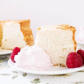 Angel Food Cake with Raspberry Whipped Cream.