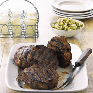 Grilled Monster Pork Chops with Tomatillo and Green Apple Sauce.
