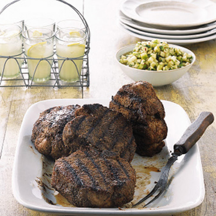 Grilled Monster Pork Chops with Tomatillo and Green Apple Sauce Recipe