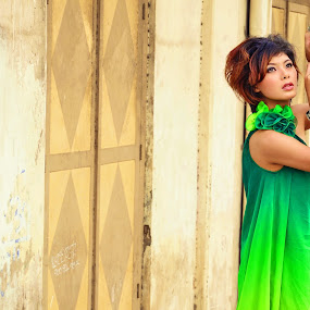 Lady in green by Kingkong Pang - People Portraits of Women ( green, woman, lady, beautiful )