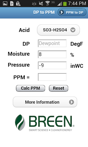 Dewpoint to Acid PPM