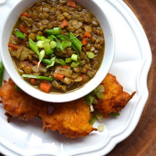 Curried Lentil Soup With Savory Sweet Potato Fritters.