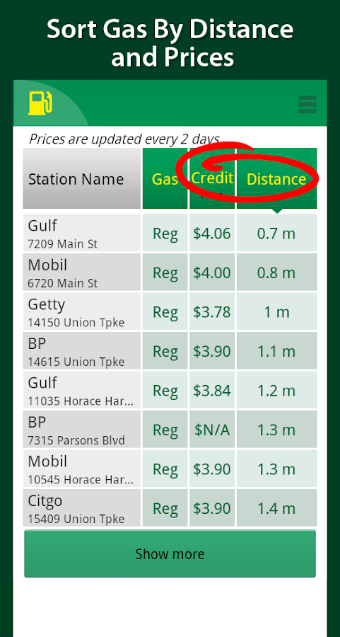 Simple Cheap Gas Prices Finder- screenshot