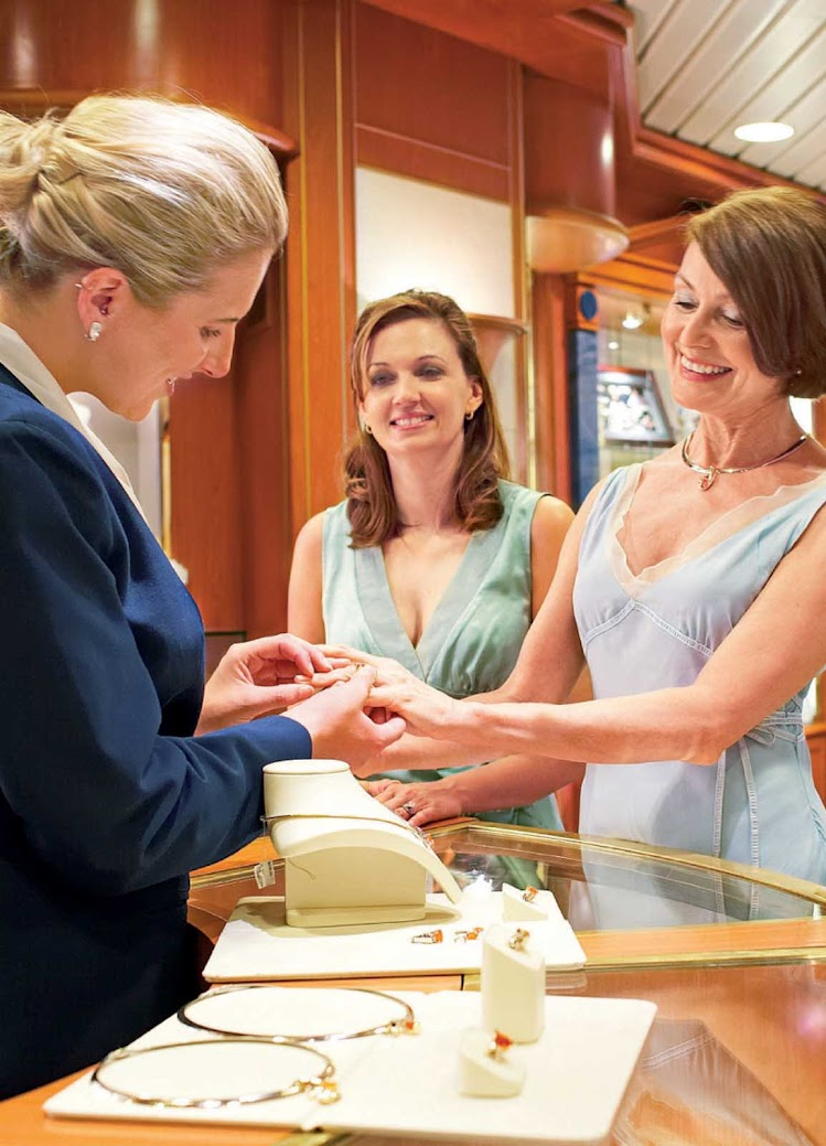 Aboard your Princess cruise, check out jewelry and other merchandise from top-of-the-line brands at the boutique store on board.