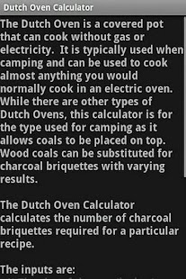 Dutch Oven Calculator - screenshot thumbnail
