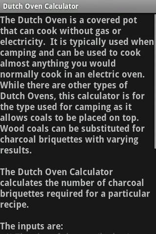 Dutch Oven Calculator - screenshot
