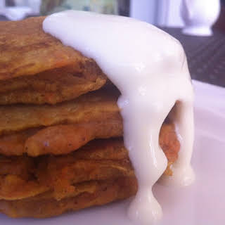 Carrot Cake Pancakes With Orange Cream Cheese Glaze.