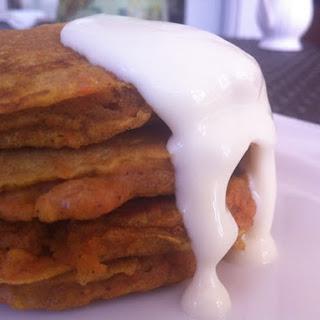 Carrot Cake Pancakes With Orange Cream Cheese Glaze.