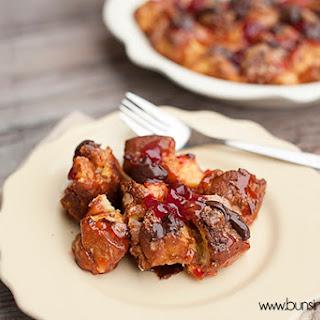 Hot Fudge Covered Strawberry Donut Pudding