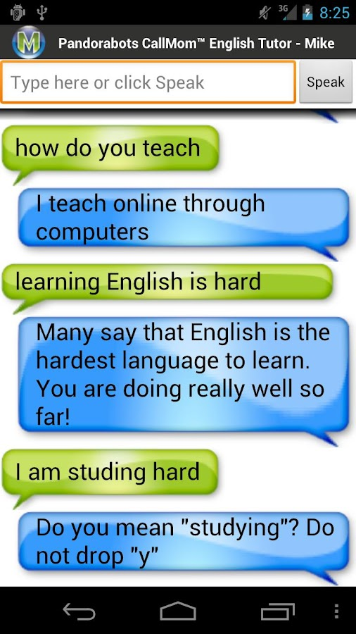 Pandorabots English Tutor - screenshot