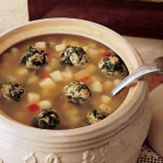 Potato Soup with Spinach Dumplings.