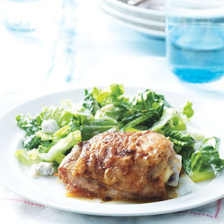 Buffalo Chicken Thighs with Celery and Blue Cheese Salad.