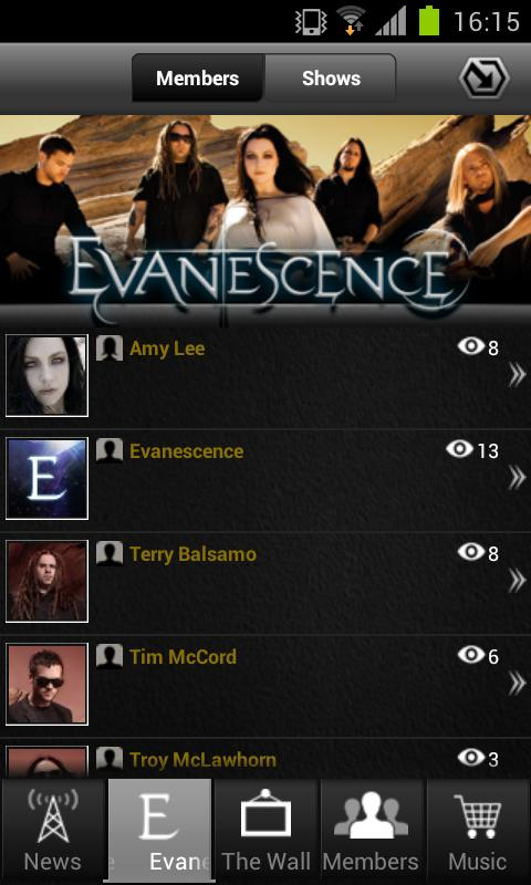 Evanescence: Mobile Backstage - screenshot