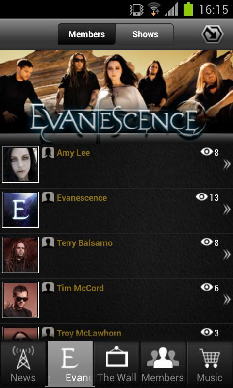 Evanescence: Mobile Backstage - screenshot