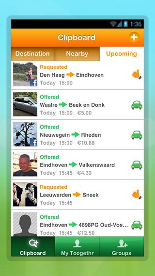 Toogethr, the carpool app - screenshot