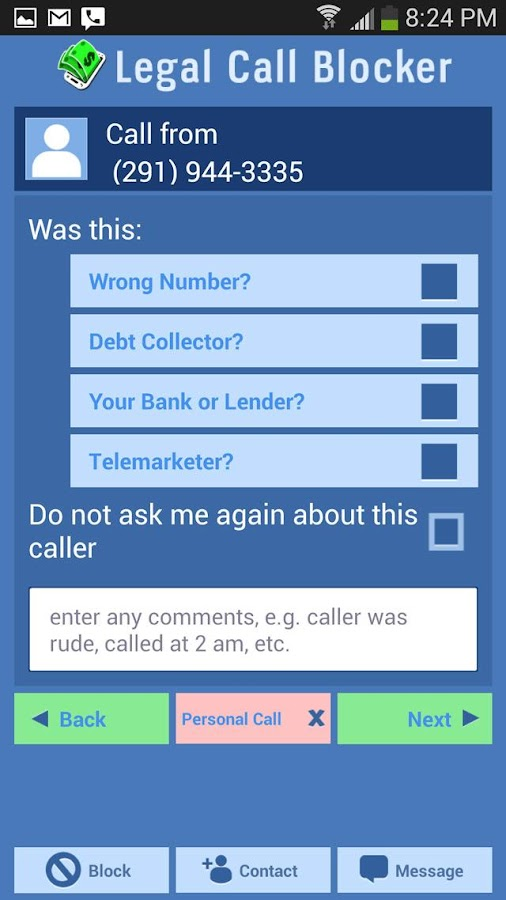 Legal Call Blocker FREE- screenshot