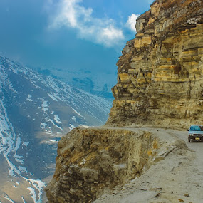 Edge by Shashank Ramesh - Landscapes Mountains & Hills ( clouds, car, hills, mountain, cliff, leh, risk, winter, blue, path, incredibleindia, india, manali, roads )