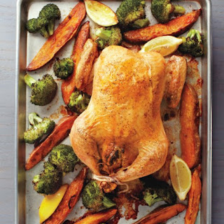 Stuffed Chicken with Roasted Broccoli and Sweet Potatoes
