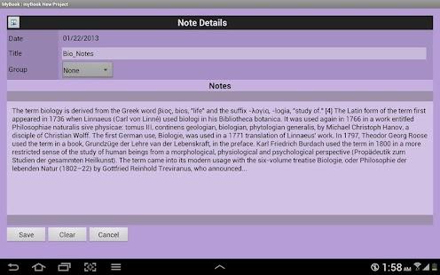 myBook Personal Organizer - screenshot thumbnail