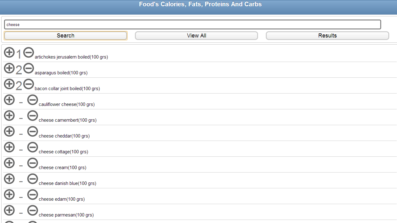 Calories fats proteins carbs - screenshot