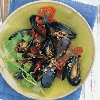 Beer-Steamed Mussels with Salted Black Beans.