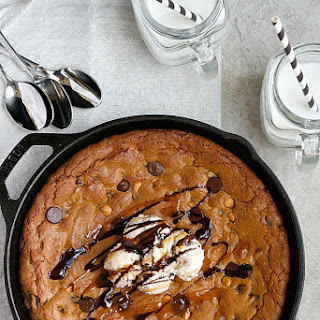 Dark Chocolate, Pumpkin Butter, & Buterscotch Skillet Cookie.
