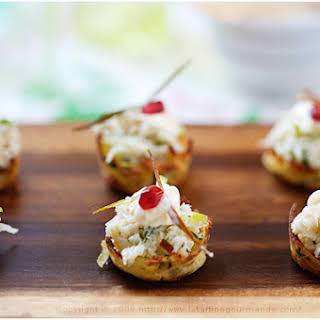 Potato Nests with Crab and Apple Topping.