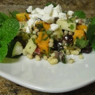 Lebanese Maftoul Couscous with Roasted Butternut Squash, Mint and Feta.