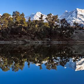 Reflections by Soumen  Basu Mallick - Landscapes Mountains & Hills ( reflection, himalaya, peak, snow, lake, landscape )
