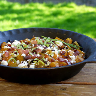 Roasted Butternut with Bacon, Leeks & Goat Cheese