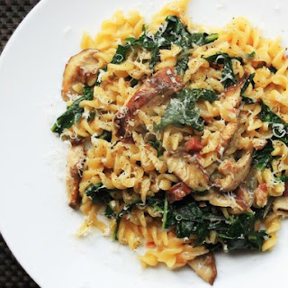Skillet Pasta with Mushrooms, Pancetta, and Wilted Greens.