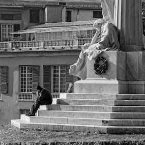 Think twice by Geanina Boureanu - City,  Street & Park  Historic Districts ( black and white, street, people )