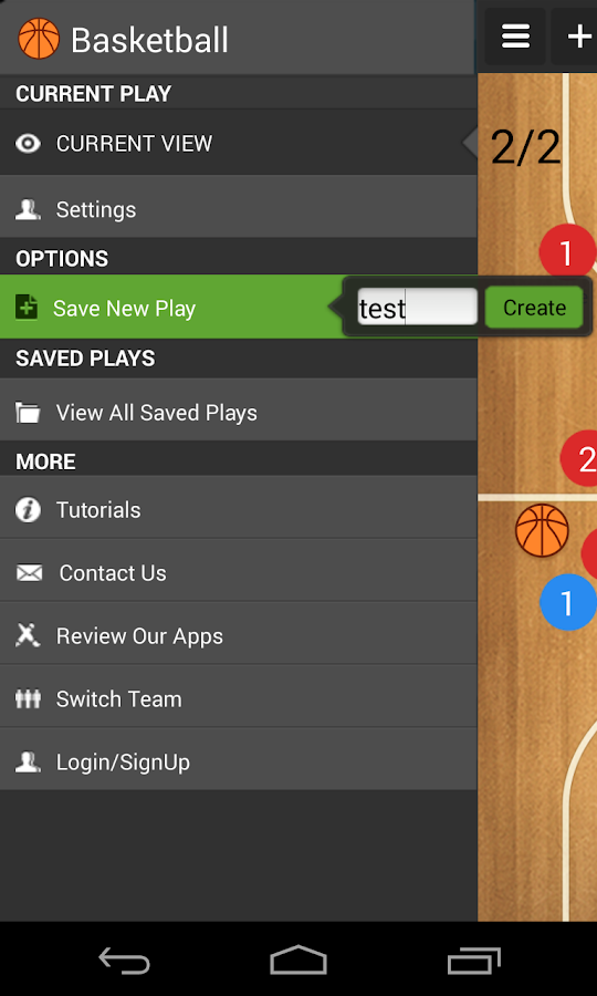 Basketball coach's clipboard- screenshot