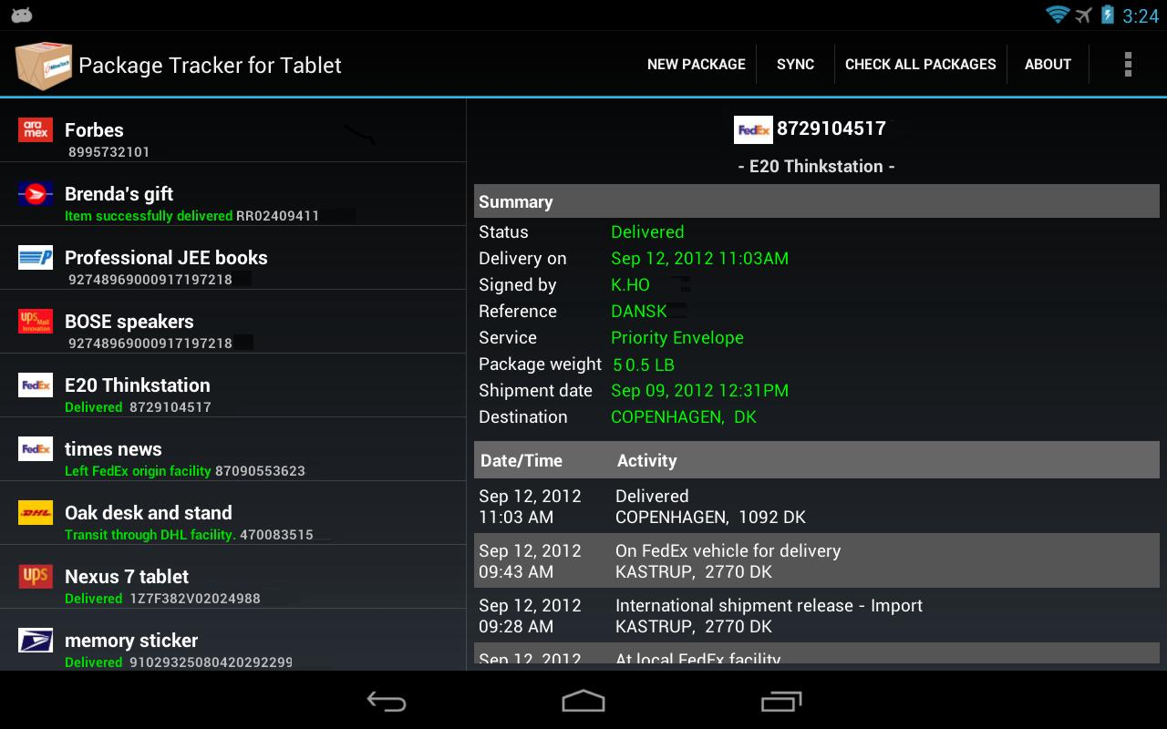 Package Tracker for Tablet - screenshot