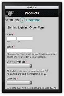 Sterling Lighting Order App - screenshot thumbnail