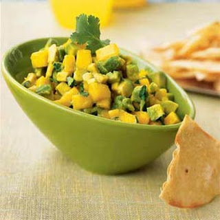 Avocado-Mango Salsa with Roasted Corn Chips.