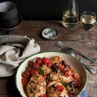Lightly Roasted Chicken Breasts With A Tomato, Olive And Caper Salsa.