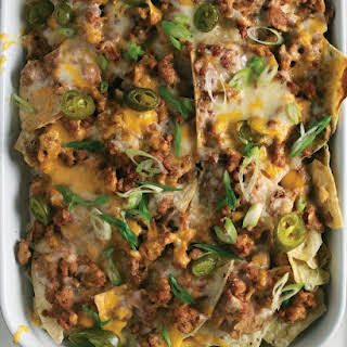 Spicy Sausage, Bean, and Cheese Nachos.