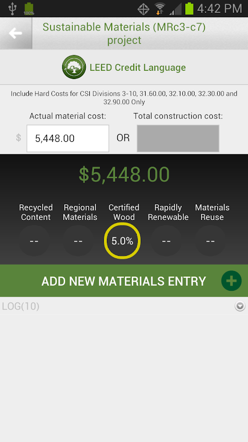Green Badger LEED Documenting - screenshot