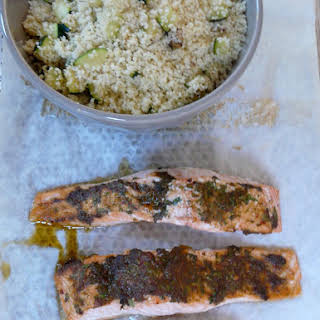 Charmoula Salmon and Couscous Seeds.