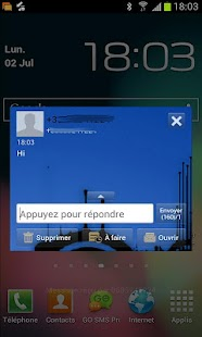 Go Sms Ray blue theme - screenshot thumbnail