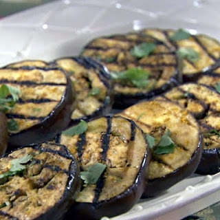 Grilled Egglplant with Basil, Garlic, and Vinaigrette