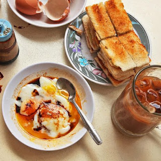 Singapore-Style Soft Cooked Eggs With Kaya Jam and Toast.