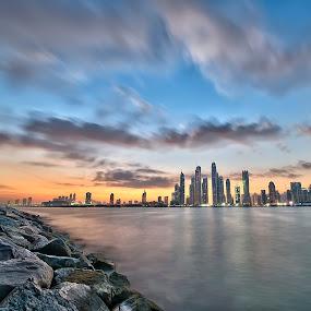 Sunrise and Dubai City Lights by Vic Pacursa - Buildings & Architecture Office Buildings & Hotels ( cityscapes, buildings, sunrise, landscapes, asian )