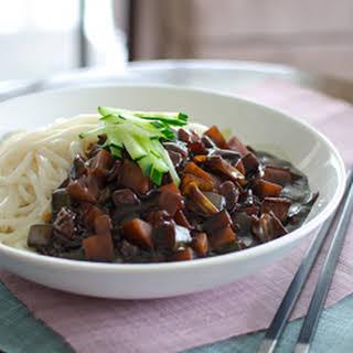 Jjajangmyun, the Korean-Chinese noodles with black bean paste.