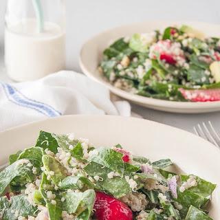 Collard Green Salad with Strawberries & Tahini Dressing