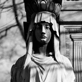 Keeping watch by Christine Schmidt - City,  Street & Park  Cemeteries ( munich, statue, cemetery, leica, historic )